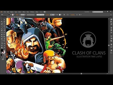 Clash of Clans T-shirt Illustration Time Lapse