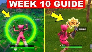 Fortnite WEEK 10 CHALLENGES GUIDE! – SEARCH BETWEEN MOVIE TITLES, SKYDIVE RINGS (Fortnite Season 4)