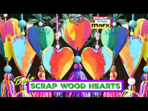 Colorful Boho Scrap Wood Hearts DIY