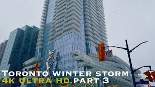 Winter storm downtown Toronto part 3 (walking tour 4k)
