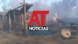 Cinco viviendas afectadas y 18 damnificados deja incendio forestal en Copiapó