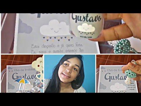 Comprinhas Pro Chá De Fraldas Do Baby Gustavo Mostrando Convite E