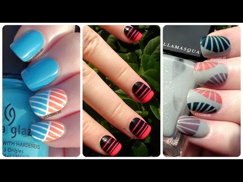Striping Tape Nail Art - 3 Easy Designs | Nail Art For Beginners | ArcadiaNailArt