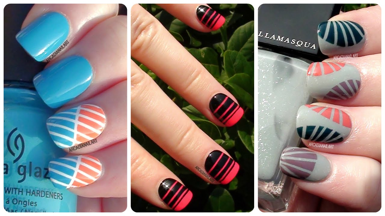 Striping Tape Nail Art - 3 Easy Designs | Nail Art For Beginners |  ArcadiaNailArt - YouTube - Striping Tape Nail Art - 3 Easy Designs Nail Art For Beginners
