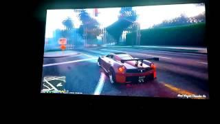 "Epson TW5210 projector, 92"" BlackWidow screen, playing GTA V"