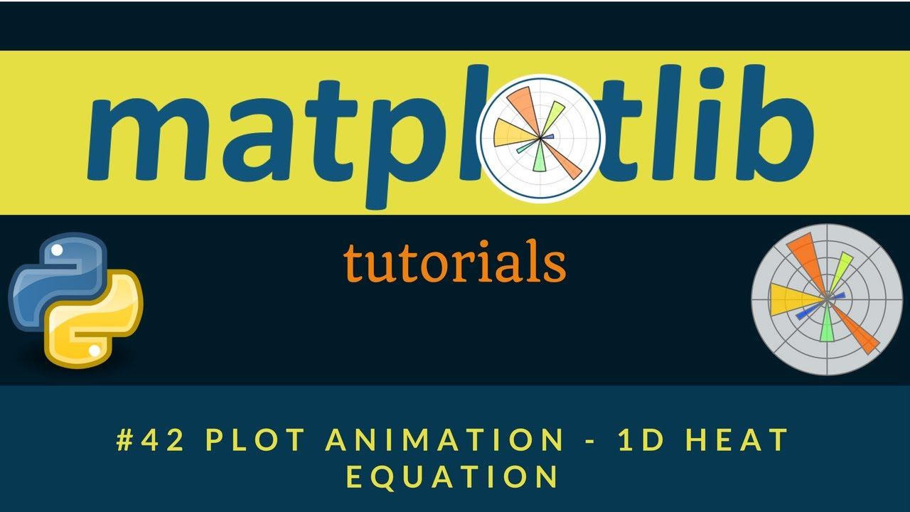 Matplotlib Plotting Tutorials : 042 : Plot Animation - 1D Heat Equation