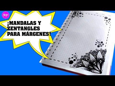 TÉCNICAS FÁCILES PARA DIBUJAR MANDALAS-Zentangle Art-márgenes para cuadernos-Yaye