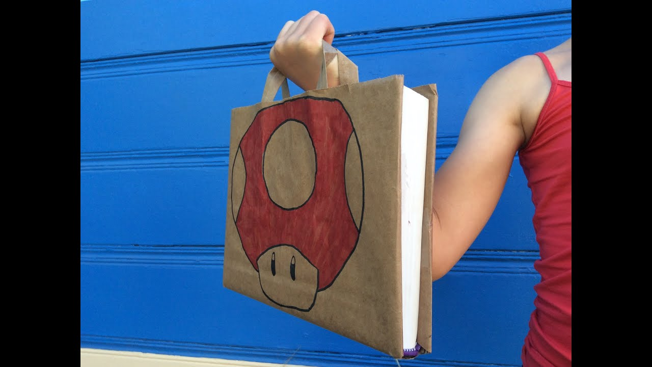 Paper Bag Book Cover With Handles : How to book cover with handle upcycling dad youtube