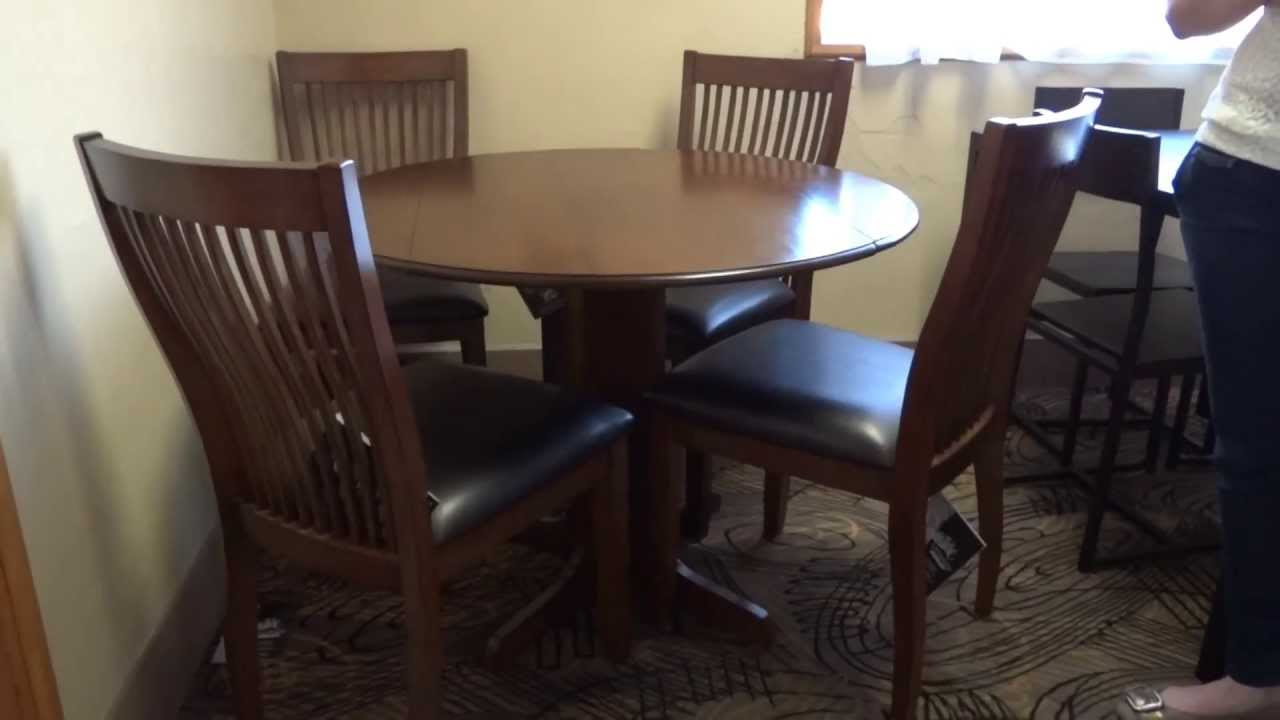 Ashley Furniture Stuman Round Drop Leaf Table Set Review YouTube - Ashley furniture high top table