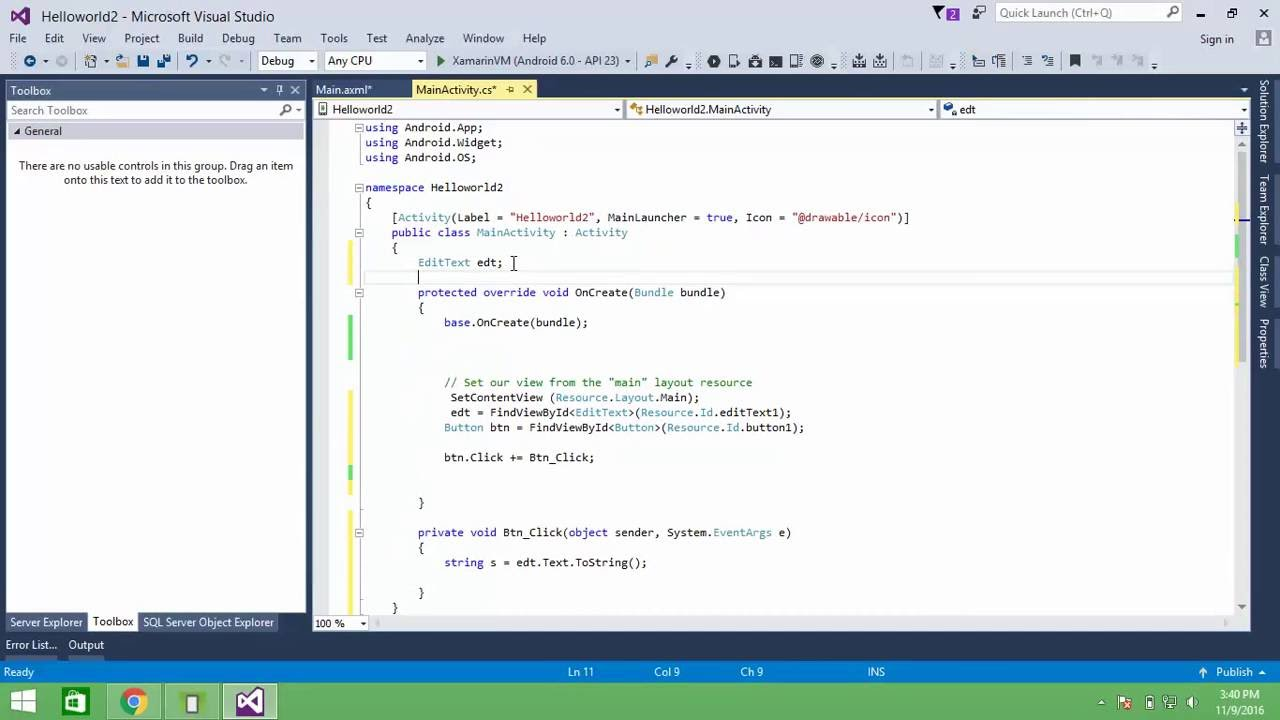 Xamarin Android: Button Events-EditText-TextView