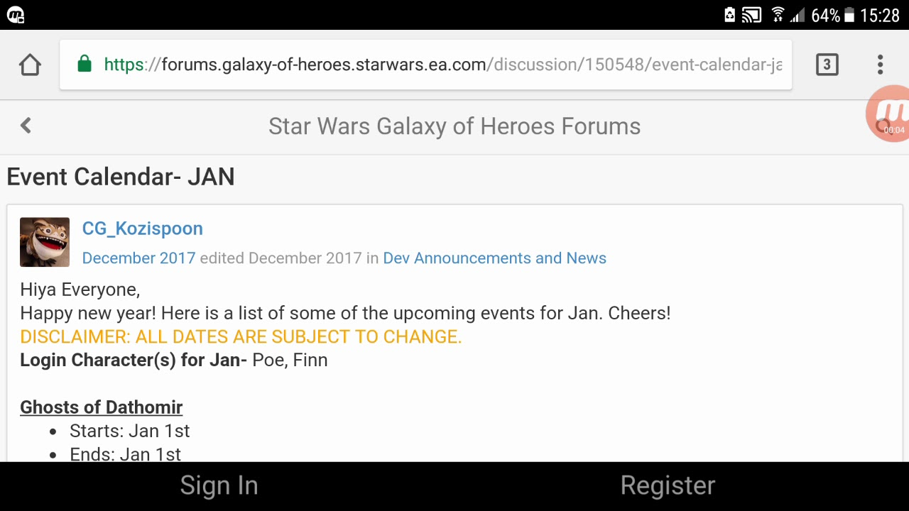 Swgoh Events Calendar.Swgoh Jan 2018 Event Callender 2018 Hopes For Star Wars Galaxy Of Heros And My 2018 Youtube Goals