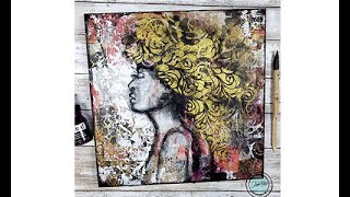 Mixed media portrait with decollage and gold Sunday inspiration 6-13-21