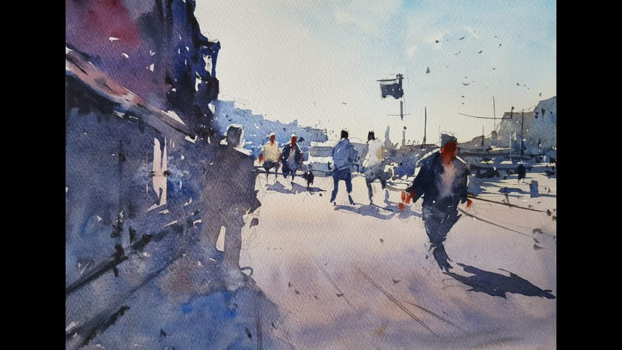 How to paint a scene with figures and shadows - Watercolour Demonstration by Tim Wilmot #13