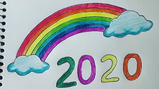 HAPPY NEW YEAR 2020 Easy Colouring Drawing step by step Happy New Year Card design for kids