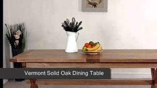 Vermont Solid Oak Dining Table & 8 Burgundy Leather Chairs