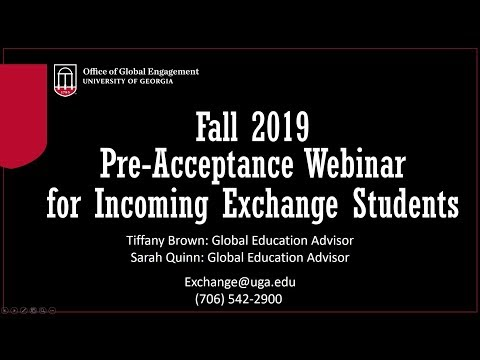 Fall 2019 Incoming Exchanges Webinar: Pre-Acceptance