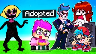We Get ADOPTED By FRIDAY NIGHT FUNKIN FAMILY In MINECRAFT! (ft. MONSTER, BOYFRIEND, & MORE!)