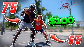 "Score On Me, You Get $100 vs 7'5"" Hooper & Random People!"