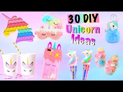 30 DIY -BEST UNICORN IDEAS by GIRL CRAFTS- POP IT, Phone Case,Room Decor,School Supplies and more…