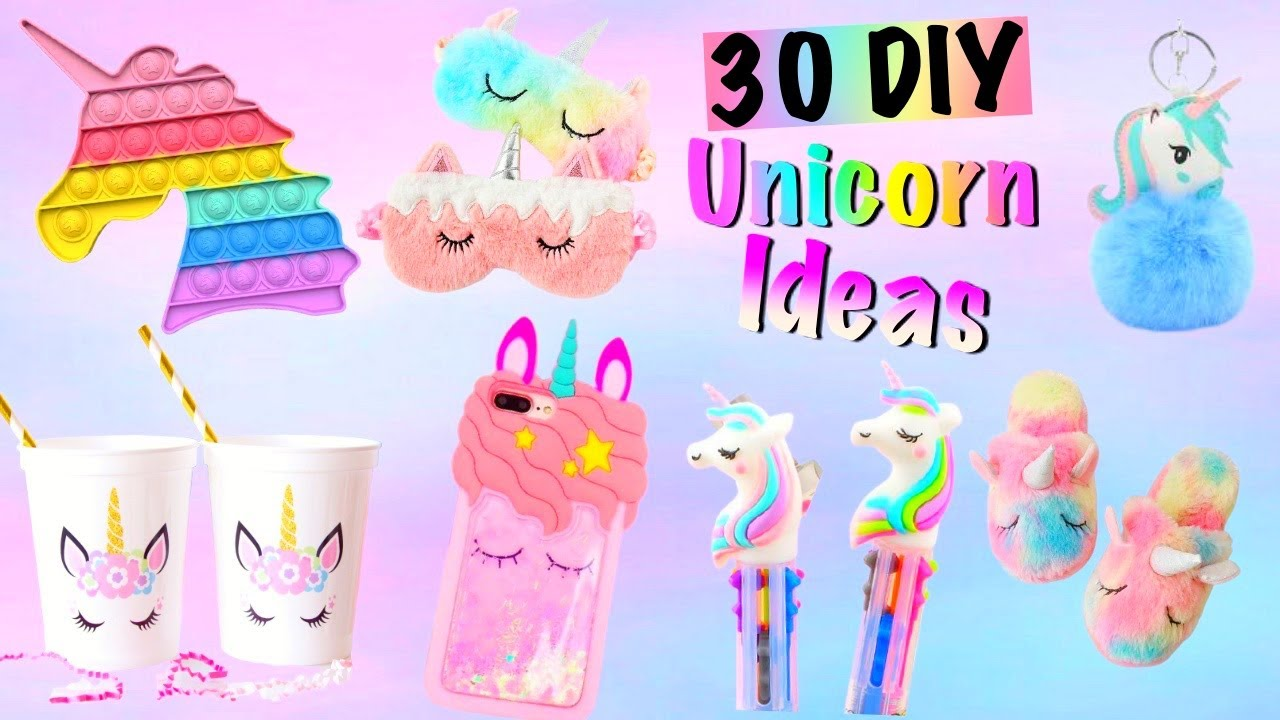 30 DIY -BEST UNICORN IDEAS by GIRL CRAFTS- POP IT, Phone Case,Room Decor,School Supplies and more...