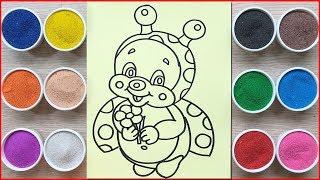 Đồ chơi trẻ em TÔ MÀU TRANH CÁT CON BỌ CÁNH CAM - Colored sand painting toys (Chim Xinh)