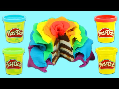 How to Make Beautiful Rainbow Play Doh Chocolate Rose Cake   Fun & Easy DIY Play Dough Art!