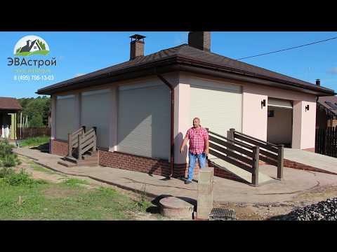 Строительство в деталях просторного гаража с террасой и мангальной зоной. Оформление террасы.Часть 8
