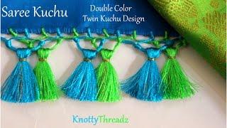Saree Kuchu | How To Make Double Color Twin Kuchu Design At Home | Indian Saree | Tutorial |