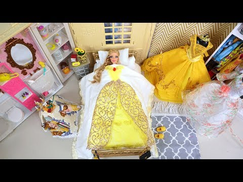 Barbie Doll Princess Bedroom Morning Routine - Beauty & The Beast Dress up