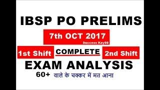 IBPS PO PRE EXAM ANALYSIS 2017-TODAY EXAM REVIEW