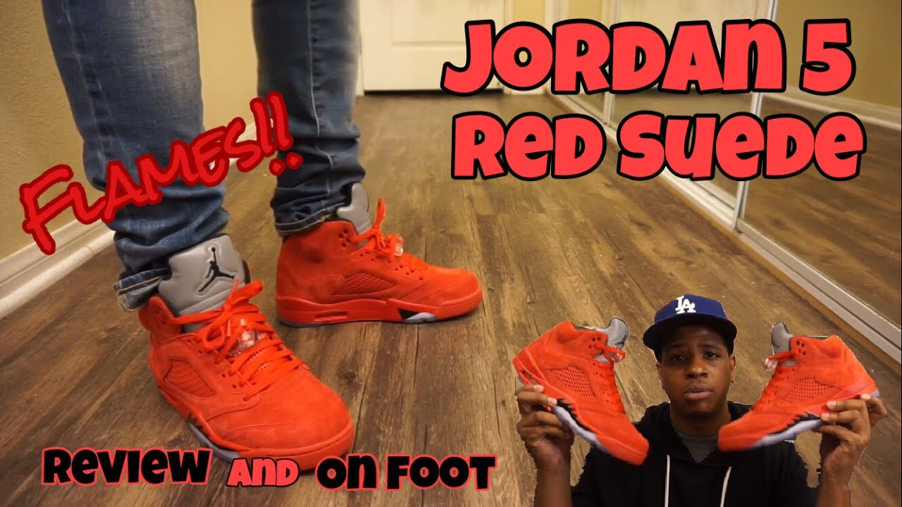 65f9b6547737dd Jordan 5 Red Suede Review + On Foot!! - YouTube