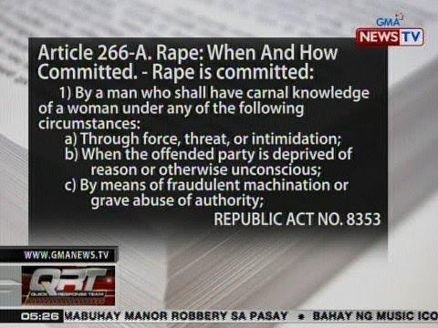 QRT: Republic Act No. 8353 o Anti-Rape Law