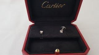 Обзор ювелирного украшения Cartier серьги 1895 , платина Pt950 , белые бриллианты по 0.25ct