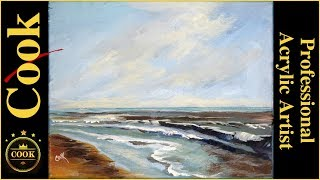 Learn to Paint  a Calm Seascape Acrylic Tutorial for Beginner to Advanced Artists with Ginger Cook