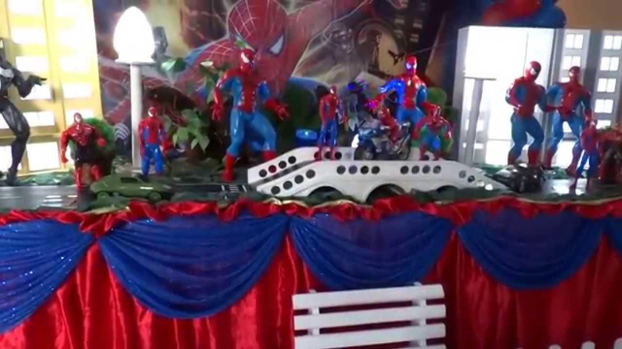Homem Aranha Decoraç u00e3o de mesa para festa de aniversário infantil YouTube -> Enfeites De Mesa Do Homem Aranha