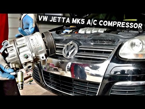 HOW TO REMOVE THE A/C COMPRESSOR ON VW JETTA MK5 AC COMPRESSOR