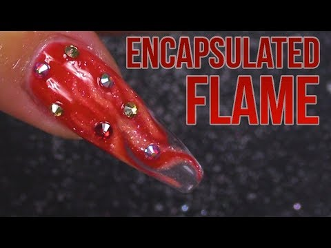 Encapsulated Flames  A Song of Ice and Fire Full Set  Acrylic Sculpted Flame Nail