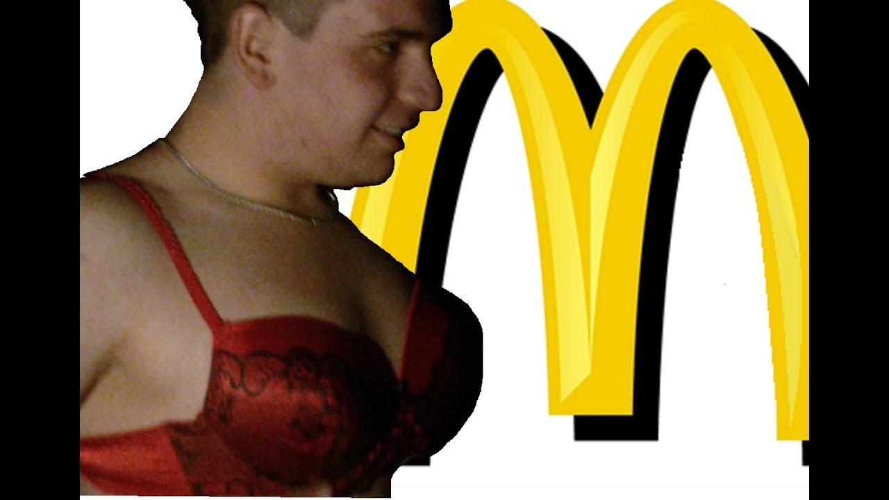 McDonalds Verarsche, Junge in BH, Tanga & Feinstrumpfhose