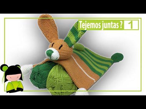 Como tejer una MANTA DE APEGO a crochet en forma de conejo 1