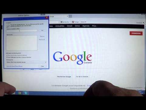 Windows 8 Internet Explorer 10 pop up blocker settings