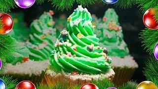 Кексы творожно-кокосовые с масляным кремом «Новогодняя Елочка»🎄Праздничный рецепт на Новый Год!