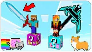 НУБ И ДЕВУШКА НА КОШАЧЬЕМ И ЩЕНЯЧЬЕМ ЛАКИ БЛОКЕ В МАЙНКРАФТ! КАК ВЫЖИТЬ НУБУ И ДЕВУШКЕ в Minecraft?
