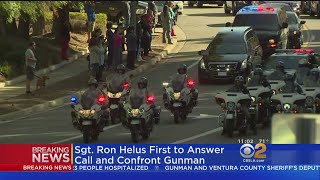 Bystanders, Firefighters Salute Body Of Slain Ventura County Sheriff's Sergeant