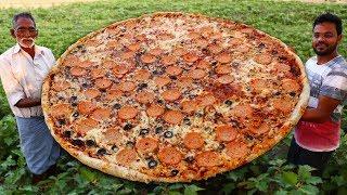 Pepperoni Pizza Recipe Without Oven   Biggest Italian Pizza Never Seen Before   Grandpa Kitchen