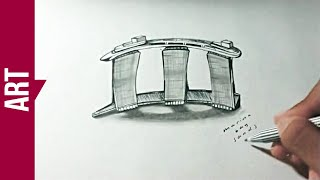 Drawing MARINA BAY SANDS 3D on paper - [REDRAW STUDIO]