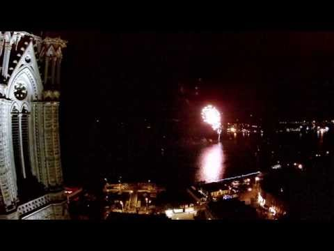 Night flight from Cathedral in Cobh of fireworks