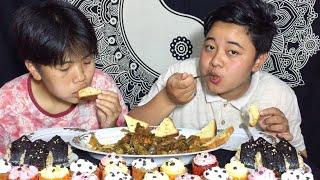 NOM NOM MUKBANG | Chicken Roast, Garlic Bread, Samgak & Cupcakes | Meitei Mukbang