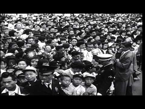 Japanese, United States Army and Americans celebrate anniversary of Yokohama Port...HD Stock Footage
