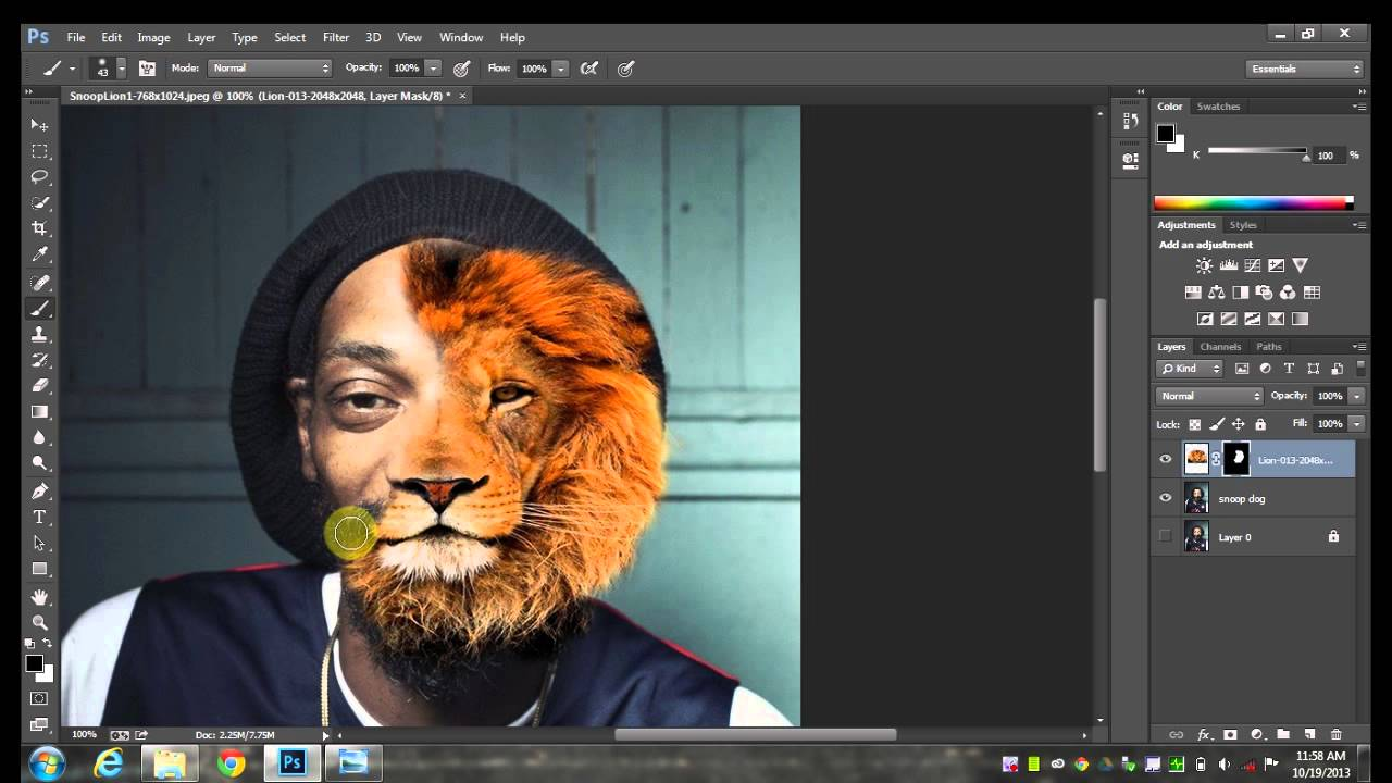 how to cut an image in half in photoshop