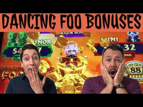 BIG Bonuses on NEW Dancing Foo Gold Stacks 88 Slot Machine
